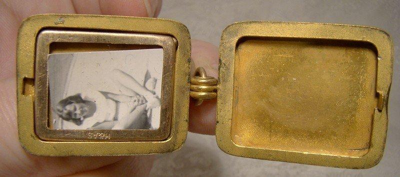 Victorian Masonic Gold Filled Rectangular Photo Locket Watch Fob 1900