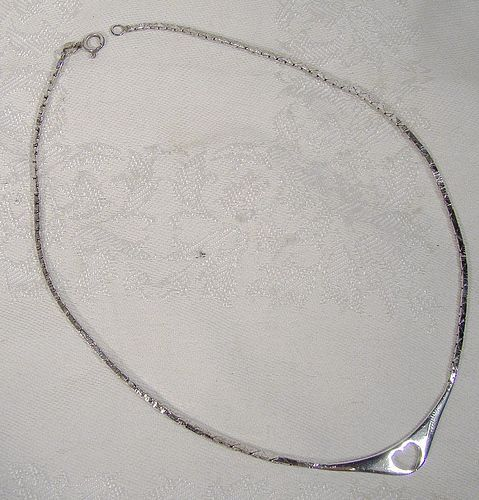 Italian Sterling Cutout Open Heart Necklace - Rigon Ottorino Vincenza