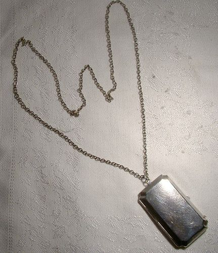 Edwardian Silver Plated Coin Holder Pendant on Chain Necklace 1910