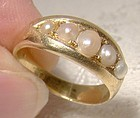 18K Victorian 5 Pearls Row Engagement Ring 1880 1890 18 K Size 5
