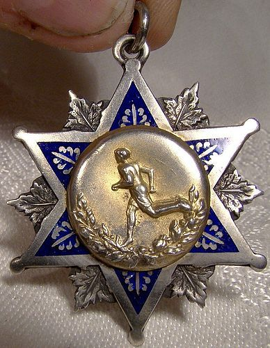 Sterling Silver Enamel ST M.C.I. Sports Award Fob Pendant 1915 Ryrie
