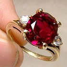 10K Synthetic Ruby & White Sapphires Ring 1950s - Size 6
