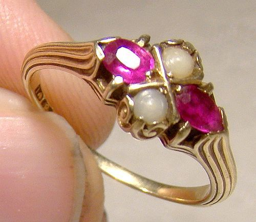14K Victorian Ruby and Pearls Neoclassic Ring 1900 - Size 5-1/2