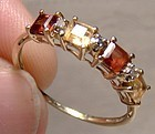 10K Garnets Citrines and Diamonds Row Ring 1980s - Size 7