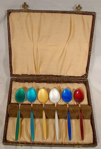 Set of 6 David Andersen Norway Enamel Demitasse Coffee Spoons with Box