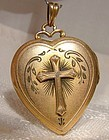 Gold Filled Heart Photo Locket with Cross Pendant 1920s