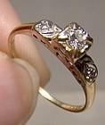 14K Gold Diamond Heart Shoulder Ring 1920s 1930s - Size 7-1/2