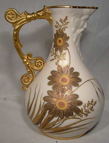 "Royal Worcester 6-1/4"" Face or Mask Jug with Gold 1897"