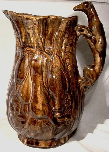 Bennington 19th Century Dog Handle Hunting Scene Large Pitcher 10-1/4""