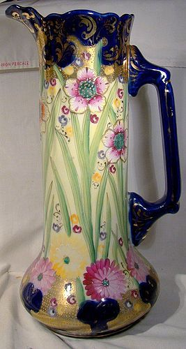 """Tall Royal Nippon 13-3/4"""" Hand Painted Floral Ewer or Pitcher 1880s"""