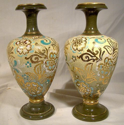"Pair Royal Doulton A. Turner Stoneware 7-5/8"" Vases 1902-22 Unusual"