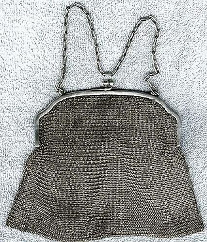 Edwardian Sterling Silver Mesh Purse Handbag 1900 1910 Antique Chain