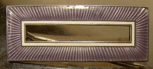 Clement Berg Norway Sterling Silver Purple White Enamel Rectangle Pin