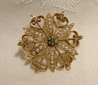 15K Emerald Seed Pearls Starburst Gothic Flower Aesthetic Pin Brooch