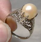 14K White Gold Filigree Art Deco Pearl Ring 1920s 1930s - Size 5
