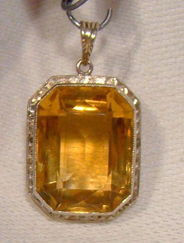 14K Art Deco Eatons Citrene Citrine Pendant 1920s 14 K White Gold