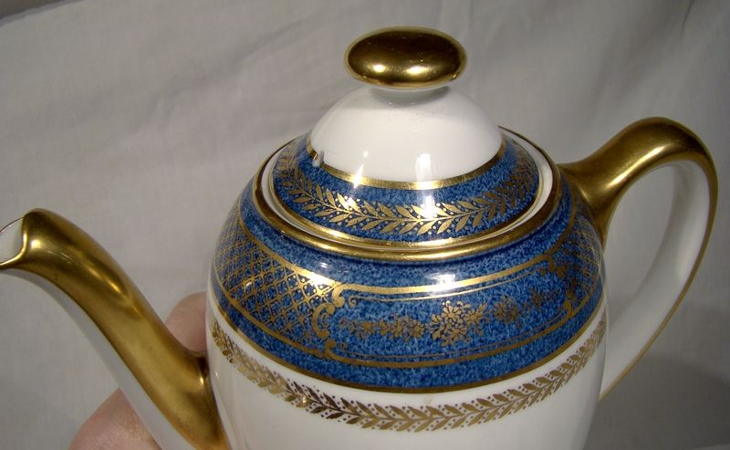 Royal Doulton Blue and Gold H4115 Coffee Pot 1950s