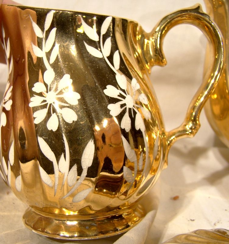 Sadler 3 PC Tea Set 2761F Golden with White Flowers 1950
