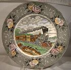 "Adams American Express Train Currier & Ives 10-1/2"" Plate 1930s"