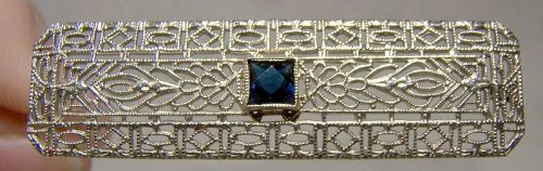 10K White Gold Art Deco Filigree Pin Brooch Paste Blue Sapphire 1920s