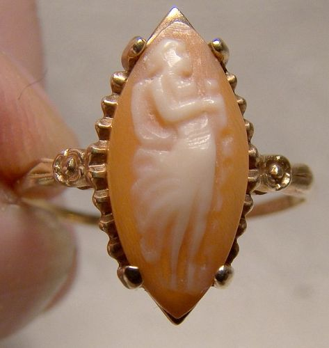 10K Shell Cameo Siffari Ring 1940s - Size 8-1/4 8.25