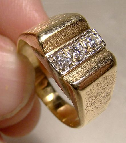 14k 3 Diamond Row Ring Man's Ring Orange Blossom Size 7