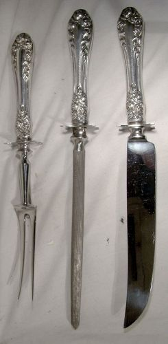 Northumbria Normandy Rose Sterling Silver 3 Pc. Carving Set