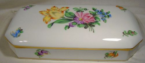 Herend Printemps Hand Painted Oblong Trinket or Cigarette Box
