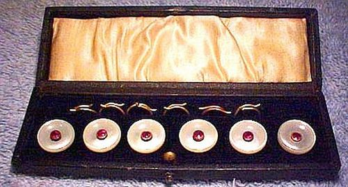 Edwardian 15K Mother of Pearl Rubies BUTTON SET in BOX 1900