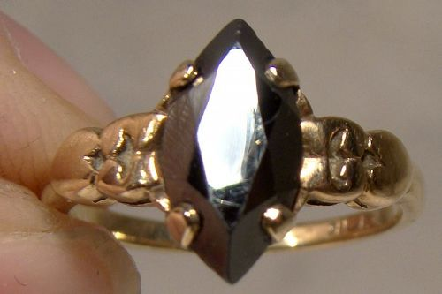 10K Black Alaskan Diamond Hematite Ring 1960s Size 4-1/2