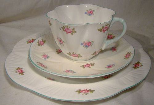 Shelley Rosebud 13426 Trio - Cup, Saucer, Salad Plate