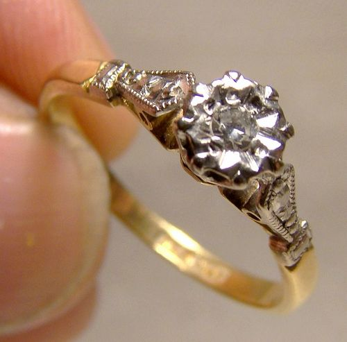 Edwardian 18K & Platinum English Diamond Ring - Size 6-1/2