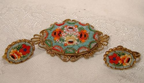 Italian Mosaic Pin Brooch and Screw Back Earrings 1930s-40s