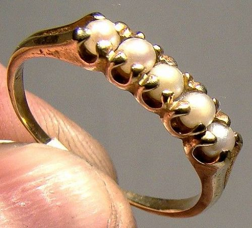 14K Gold 5 Pearls Row Ring 1920-30 - Size 7-3/4