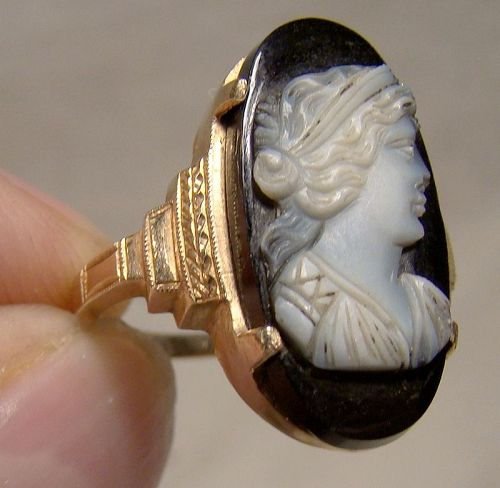 10K Edwardian Black Sardonyx Cameo Portrait Ring 1910-20 - Size 6-1/4