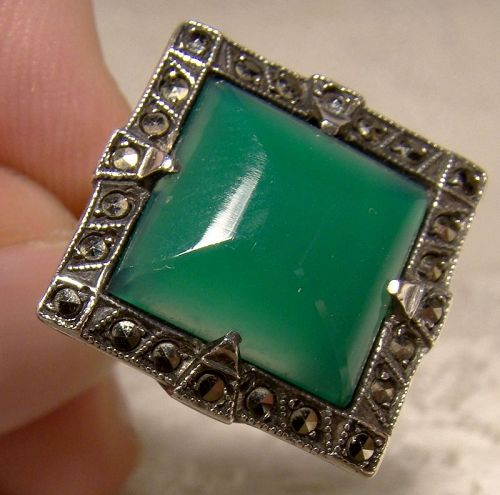 Art Deco Sterling Silver Chrysoprase Marcasites Ring 1920s 1930 Size 5