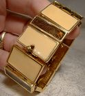 Signed Joel Cream and Brown Enamel Panels GP Bracelet 1970s