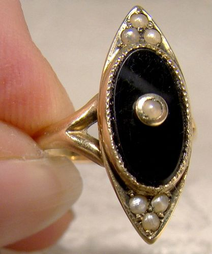 14K Edwardian Onyx Seed Pearls Ring 1910-20 - Size 2-1/4