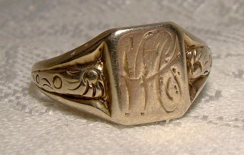 10K MC or WC Signet Ring 1920s 1930s - Size 6-1/2