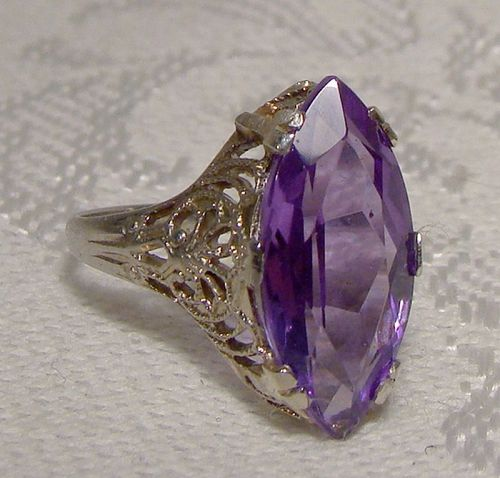 14K White Gold Filigree Art Deco Synthetic Alexandrite Ring 1920s