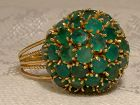 14K Green Chrysoprase and Pearls Dome Cocktail Ring 1960s - Size 6-1/4
