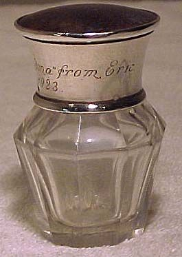 Sterling Silver Cut Glass & Celluloid Smelling Salts Bottle 1922
