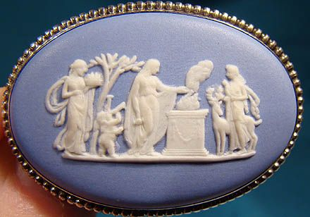 Wedgwood Blue Jasper Oval Sterling Silver Pin Brooch 1965
