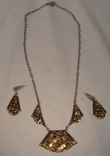 Art Deco Rose Gold Plated Hammered Necklace and Earrings Set 1920 1930