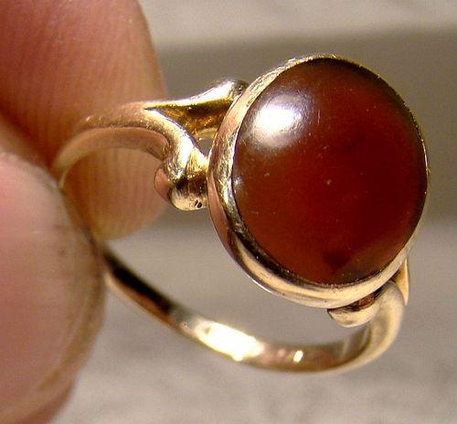 Edwardian 14K Carnelian Cabochon Ring 1910 - Size 4