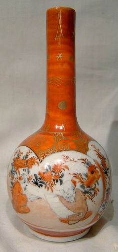 19th Century Japanese Kutani Bottle Vase