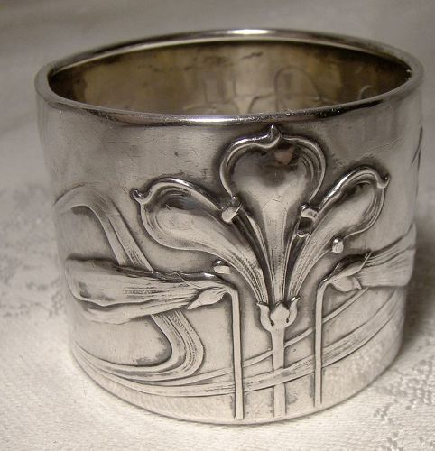 800 Silver Art Nouveau Floral German Napkin Ring 1900