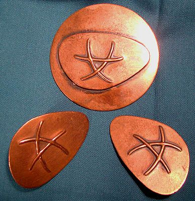 Signed Dafri Copper Ultramodern Pin Brooch and Earrings Set 1950s