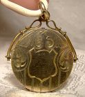 Victorian Edwardian Round Gold Filled Photo Locket 1900 1910