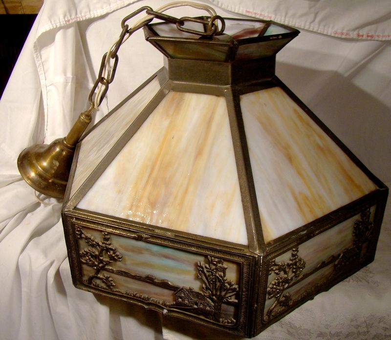 Authentic 1920s Slag Glass Scenic Chandelier Ceiling Lamp